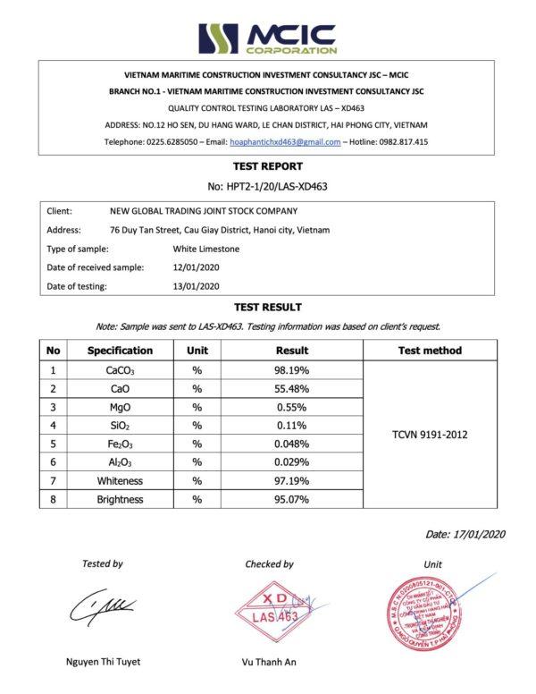 Quality Certification White Limestone - LAS XD463
